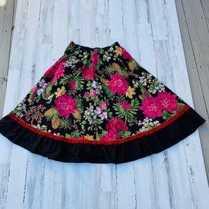 Vintage 80s does 50s Christmas Poinsettia Skirt